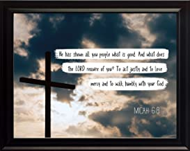 WeSellPhotos Micah 6:8 Walk humbly with your God. - Christian Poster, Print, Picture or Framed Wall Art Decor - Bible Verse Collection - Religious Gift For Holidays Christmas Baptism (8x10 Framed)