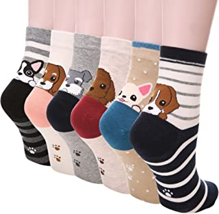 Dosoni Girl Cartoon Animal Cute Casual Cotton Novelty Crew socks 6 packs-Gift Idea