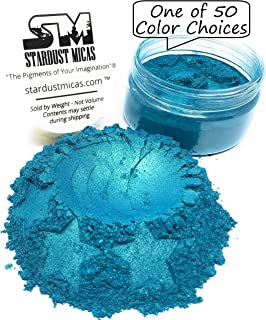 Pigmented Powder Stardust Micas Cosmetic Grade Colorant for Makeup, Soap Making Dye, Nails, DIY Crafting Projects, Bright True Colors Stable Mica Batch Consistency (Blue Lagoon, 36 Gram Jar)