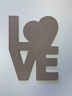 """SJT ENTERPRISES, INC. Love Word Art MDF Wood Craft Plaque 3 Pack - 8"""" x 10.75"""" x 1/4"""" Thick Boards - Cut it, Paint or Stai..."""