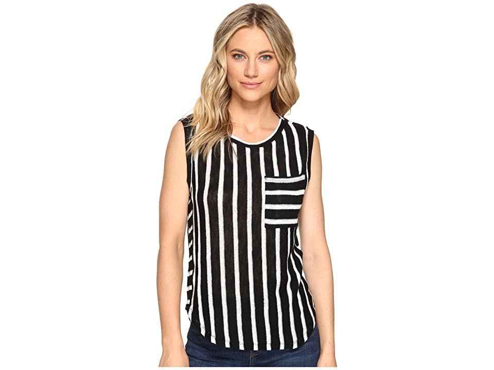 Splendid Stripe Loose Knit Pocket Tank (Black) Women