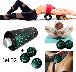 Trigger Point Foam Roller Set,  Two in One with Honeycomb Pattern on Surface High Density Massage Body Roller for Deep Tissue Massage of The Neck Back Leg Arm Feet Muscles