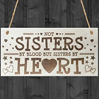 Red Ocean Sisters by Heart Shabby Chic Wooden Hanging Plaque Friend Sign