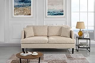 Modern Upholstered Loveseat Sofa/Couch (Beige)