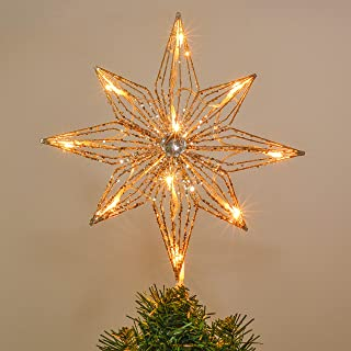 Valery Madelyn 10-Light 14.2 Inch Elegant Champagne Gold Star Treetop, Metal Christmas Tree Topper, Battery Operated (Not Included)