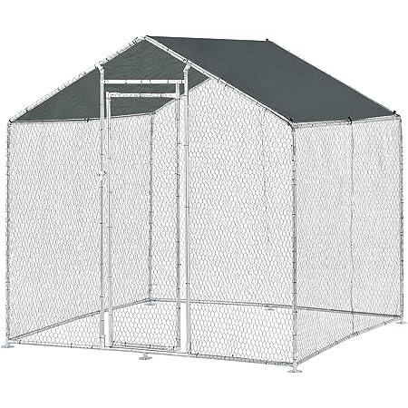 [pro.tec] Jaula al Aire Libre 2 x 2 x 2 m Voladero para Aves Jaula Gallinero de Exterior con Tejado Casa de Animales pequeños Color Plata y Verde Oscuro