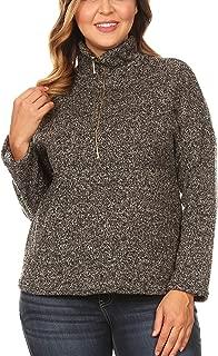 Bubble B Women's Junior Plus Size Two-Tone Hi-Lo Zipper Detailed Knit Sweater Top