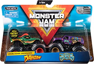 Monster Jam Official Dragon vs. Jester Scale Die-Cast Monster Trucks, 1:64 Scale, 2 Pack