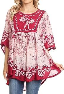 Sakkas Lynda Two Tone Batik Embroidered Palm Tree Peasant Top/Poncho
