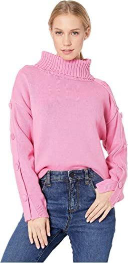 Turtleneck Sweater with Buttoned Sleeves