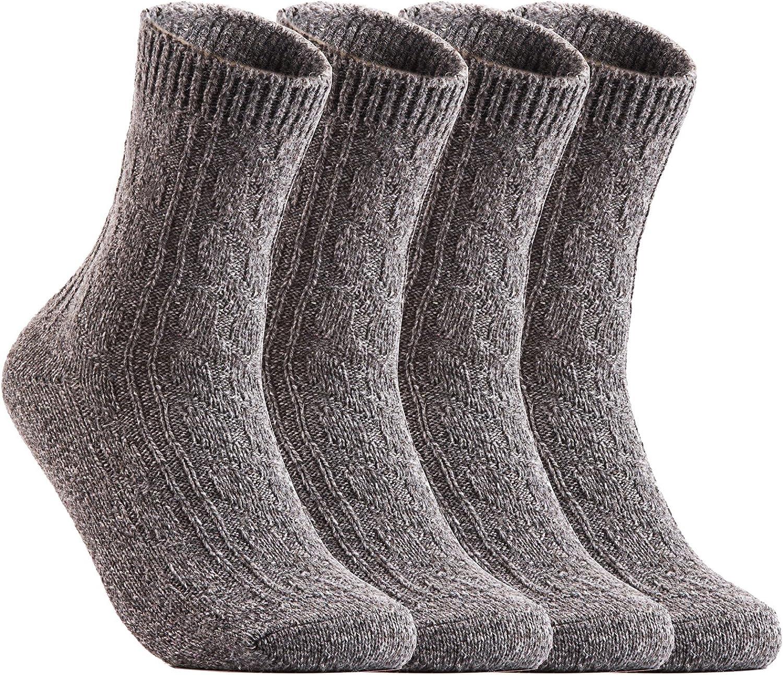 Lian LifeStyle Women's 6 Pairs Pack Soft Wool Blend Crew Socks Size 69 (HR1613)