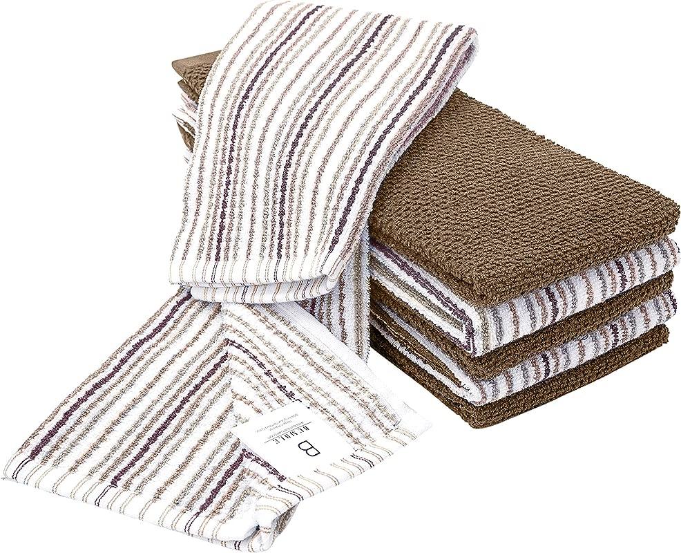 6 Pack Large Kitchen Towel Set 16 X 26 3 Popcorn Stripe Design 3 Solid Color Tan Yarn Dyed Cotton Hand Towels Coordinating Tea Towel Sets Luxury Soft