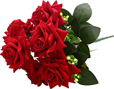 Fourwalls Beautiful Artificial Rose Flower Bunch with Elegant Bloom for Home décor (32 cm Tall, 7 Heads, Light/Red)