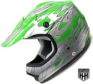 SmartDealsNow - HHH DOT Youth & Kids Helmet for Dirtbike ATV Motocross MX Offroad Motorcyle Street bike GREEN FLAME (Medium)