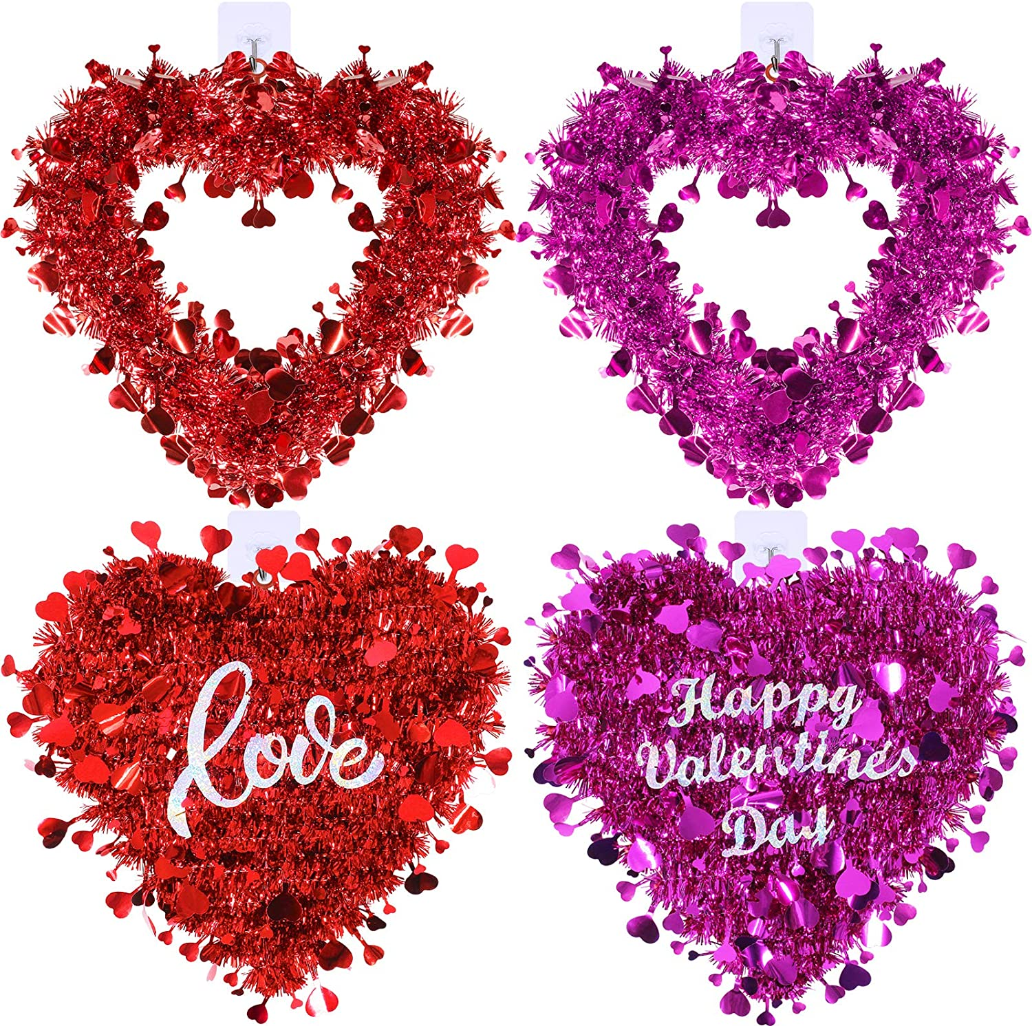 4 Pack Valentine Heart Wreaths Red Purple Tinsel Heart Shaped Wreaths with Foil Hearts Love Hanging Valentine's Day Wreaths Decorations for Wedding Birthday Party Front Door Wall Window Mantel Décor