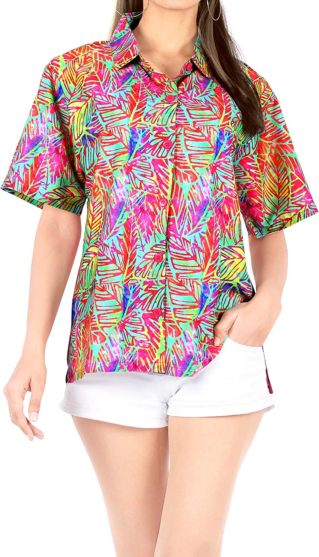 LA LEELA Women's Plus Size Cute Hawaiian Shirt Tunic Loose Blouse Tops Printed B