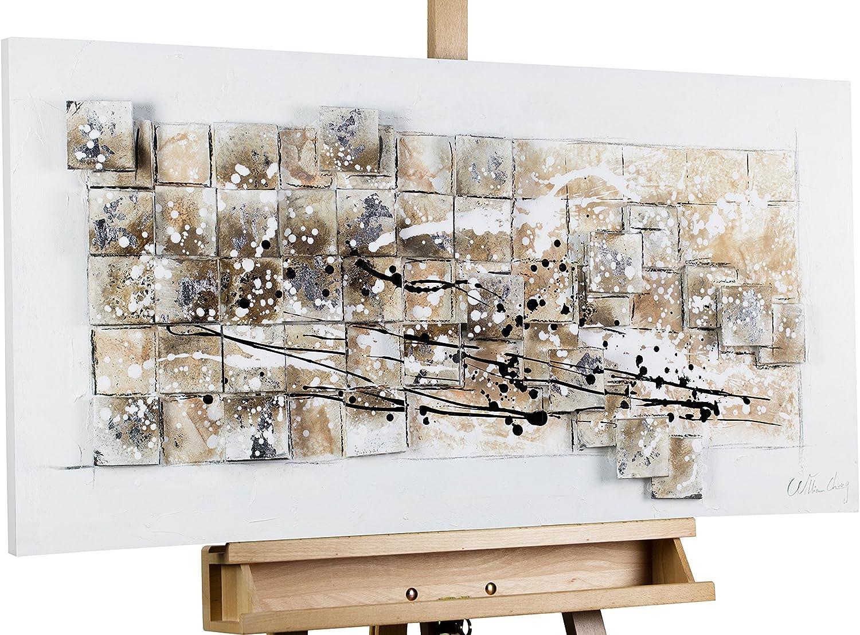 KunstLoft® Acryl Gemälde 'A Silber Lining' 100x50cm     original handgemalte Leinwand Bilder XXL   Silber Rechtecke mit Grau Abstrakt   Wandbild Acrylbild Moderne Kunst einteilig mit Rahmen B01GDZOT66 69eac7