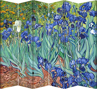 6 Panel Folding Screen Canvas Privacy Partition Divider- Van Gogh's Irises
