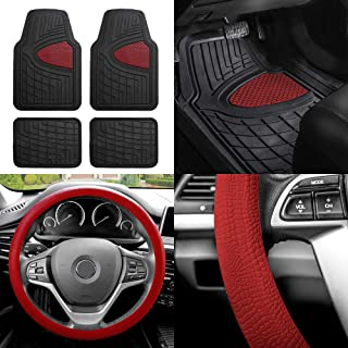 FH Group FH-F11311 Premium Tall Channel Rubber Floor Mats w. FH3001 Snake Pattern Silicone Steering Wheel Cover, Burgundy/Black Color