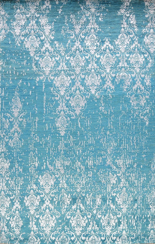 Blue sale Floral Damask Distressed Max 65% OFF Oriental Wool Rug Area Silk Hand-K