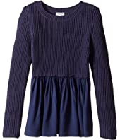 Splendid Littles - Long Sleeve Sweater Woven Tunic (Big Kids)