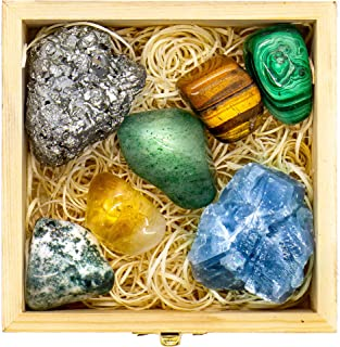 Premium Quality Crystals and Healing Stones for Abundance & Prosperity in a Wooden Box - Malachite, Pyrite, Citrine, Aventurine, Blue Calcite, Tree Agate, Tiger's Eye + Guide & Instructions - Gift Kit