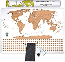 Travel Goods Plus Scratch Off World Map - White and Gold Map Poster Featuring Colorful Countries and Flags - Protective Wrap and Scratcher Included