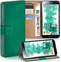 MoEx® Funda Cartera [protección 360°] Compatible con Samsung Galaxy S5 | Cierre magnético, Vert foncé