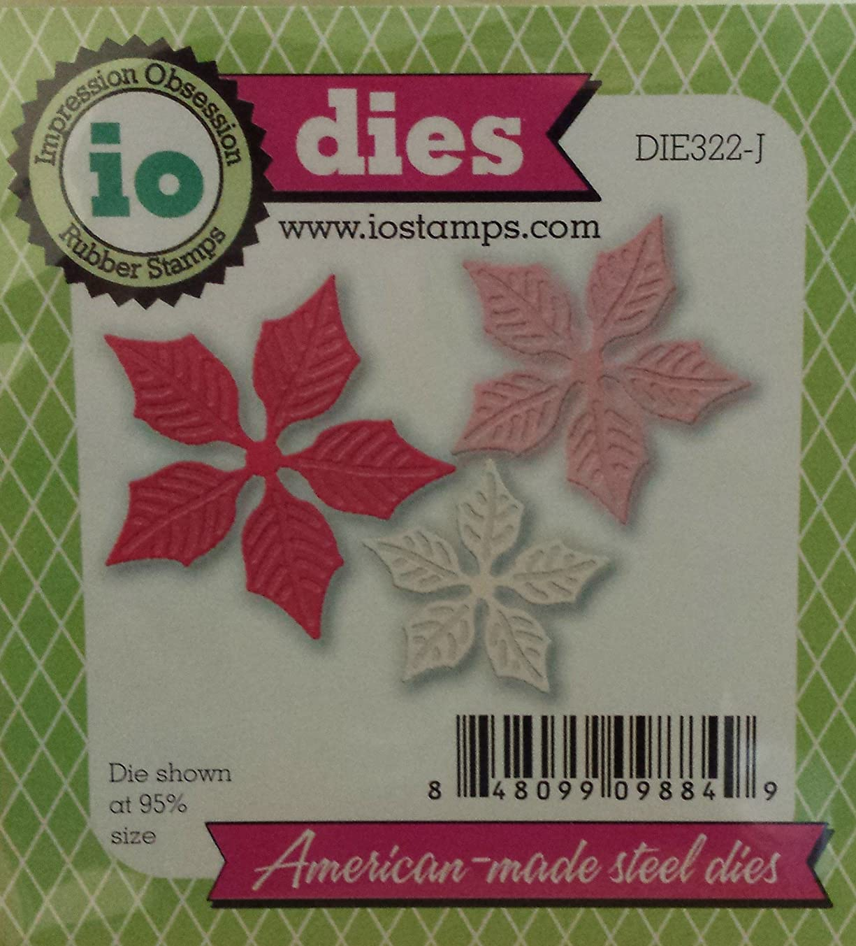 Impression Obsession Small Poinsettia Set Steel Die DIE322-J