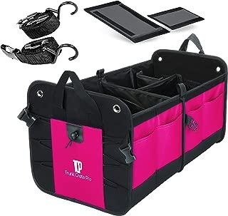 TRUNKCRATEPRO Premium Multi Compartments Collapsible Portable Trunk Organizer for auto, SUV, Truck, Minivan (Pink)