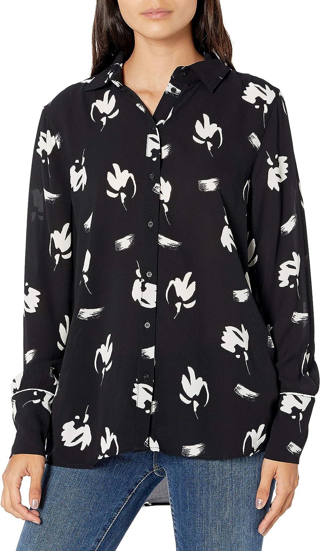 AX Armani Exchange Women's Micro Floral Print Long Sleeve Shirt
