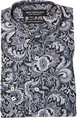 Nick Graham - Midnight Paisley Print Stretch Shirt