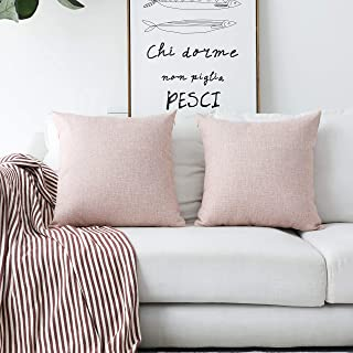 Home Brilliant Decorative Throw Pillows Linen Euro Pillow Cover Cushion Case for Floor, 24 x24 inch (60cm), Set of 2, Baby Pink