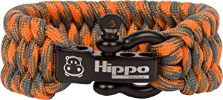Hippo Survival Paracord Bracelet with Black Metal Shackle and Adjustable Size