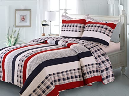 Greenland Home Fashions Nautical Stripes Quilt Set,  Twin