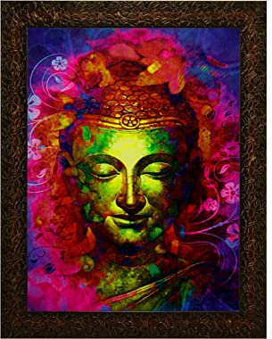 Indianara GAUTAM BUDHA Painting -Synthetic Wood, 27x30.5x1cm, Multicolour