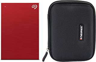 Seagate 5TB Backup Plus Portable External Hard Drive (Red) (2019 Edition) + Neopack HDD Shockproof Case/Cover for Segate Portable Hard Drive - Black