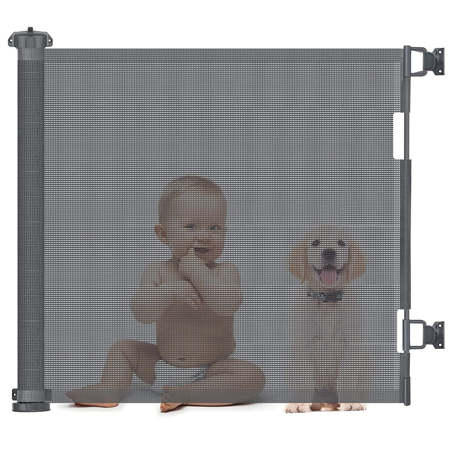 Mesh Retractable Baby Gate, Retractable Safety Gate 34 inch Tall Extends to 59 inch with 2 Sets of Mounting Hardware, Extra Wide Retractable Dog Gate for Stairs, Doorways, Hallways, Indoor, Outdoor