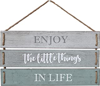 """Barnyard Designs Enjoy The Little Things in Life Quote Wall Decor, Decorative Wood Plank Hanging Sign 17"""" x 10.25"""""""