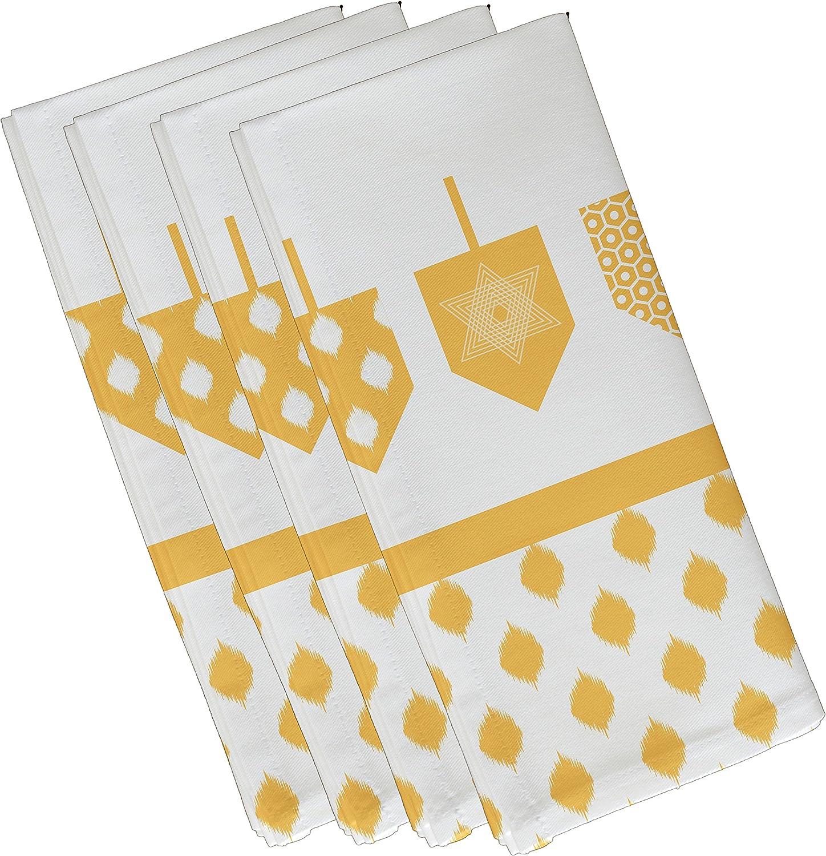 E by design N4GHN570YE9 Decorative Holiday Napkin, Geometric, (Set of 4), 19 x 19 , Yellow