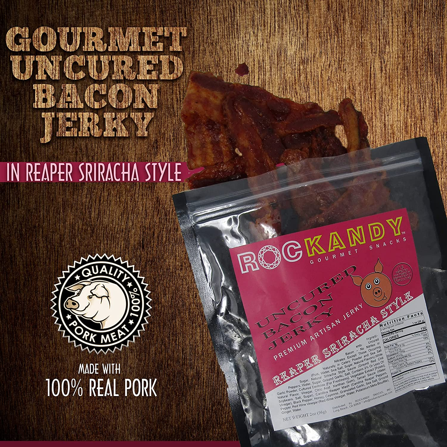 RocKandy Premium REAPER SRIRACHA BACON JERKY Ranking Some reservation TOP12 5 PACK 9g Prot of