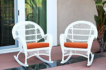 Set of 2 Jeco Wicker Rocker Chair with Orange Cushion White
