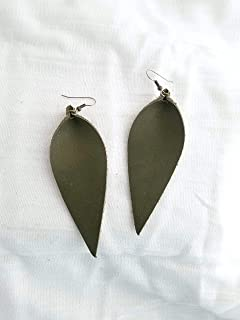 Olive Green/Leather Earrings/FREE SHIPPING/Joanna Gaines/Magnolia Market/Zia/Statement/Leaf/Lrg / 3.5