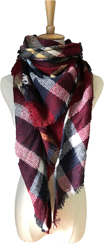 Women's Spring Winter Warm Blanket Poncho Cape Stylish Cardigan Sweater Soft Chunky Cloak Plaid Wrap Shawl Coat