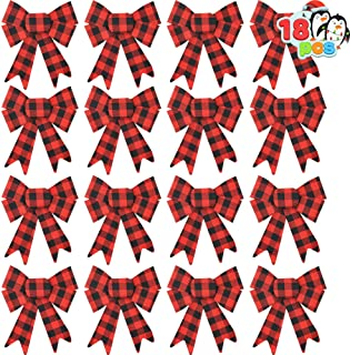 18 Loop Red & Black Buffalo Plaid Flannel Christmas Tree Bows for Holiday Decorations, Indoor, and Outdoor Farmhouse Xmas Ornament Decor