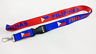 Philippines Flag Reversible Lanyard Keychain with Quick Release Snap Buckle and Metal Clasp - ID Lanyard for Keys, Badges, USB, Whistle - ID Holder Keychain for Women, Men, Kids (Blue or Red)