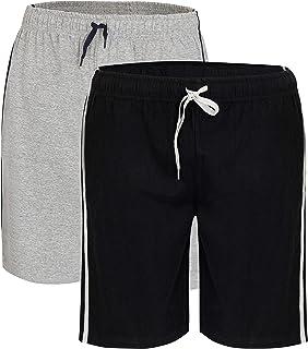 2 Pack Men's Cotton Lounge Wear Shorts with Elasticated Waist Super Soft Cosy Comfy Pyjamas Nightwear Loungewear PJs