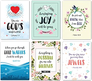 Scripture Cards - Set of 48 Boxed Bible Verse Blank Note Cards with Envelopes - Christian Greeting Cards/Inspirational Prayer Cards, 6 Designs. Christian Stationary with Bible Verses