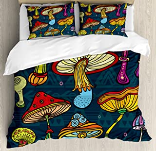 Ambesonne Mushroom Duvet Cover Set Queen Size, Stylized Mushrooms Ornate Doodles with Swirls Eyes Psychedelic Botany and Growth, Decorative 3 Piece Bedding Set with 2 Pillow Shams, Multicolor