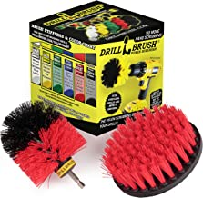 Drillbrush 2 Piece Drill Brush Red Stiff Bristle Rotary Cleaning Drill Bit Attachment Brushes for Cleaning Siding, Brick, ...
